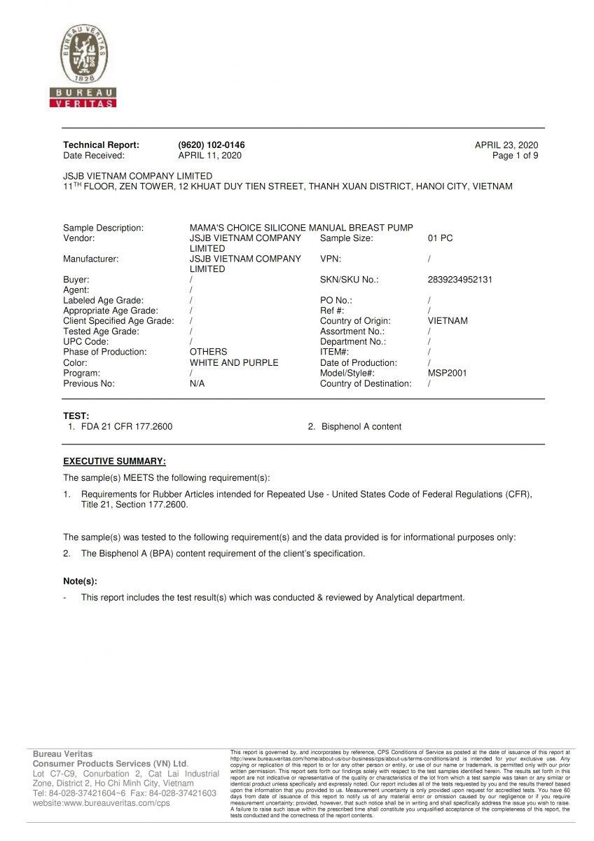 Kiểm định của Bureau Veritas trang 1